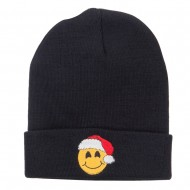 Smiley Face Santa Embroidered Long Beanie - Black