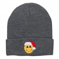 Smiley Face Santa Embroidered Long Beanie - Grey