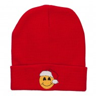 Smiley Face Santa Embroidered Long Beanie - Red