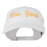 New York State Embroidered Washed Cap - White