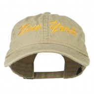 New York State Embroidered Washed Cap - Khaki