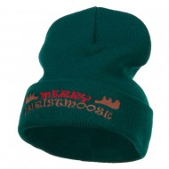 Merry Christmoose Embroidered Long Beanie - Dk Green