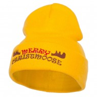 Merry Christmoose Embroidered Long Beanie - Yellow
