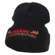 Merry Christmoose Embroidered Long Beanie - Black