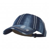 Distressed Heavy Washed Denim Cap - Navy