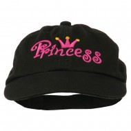 Youth Princess Embroidered Washed Chino Twill Cap - Black