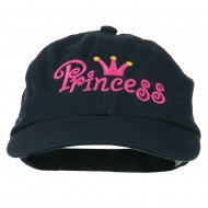 Youth Princess Embroidered Washed Chino Twill Cap - Navy