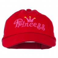 Youth Princess Embroidered Washed Chino Twill Cap - Red