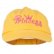 Youth Princess Embroidered Washed Chino Twill Cap - Yellow