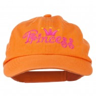 Youth Princess Embroidered Washed Chino Twill Cap - Orange