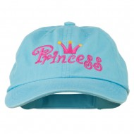 Youth Princess Embroidered Washed Chino Twill Cap - Blue