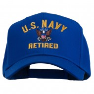 US Navy Retired Military Embroidered Cap - Royal