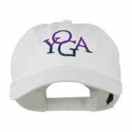 Yoga in two colors Embroidered Cap - White