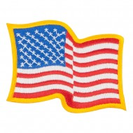Wavy US American Flag Patches - Large