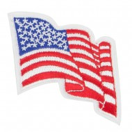 Wavy US American Flag Patches - Small