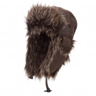 Faux Leather and Fur Trooper Hat - Brown