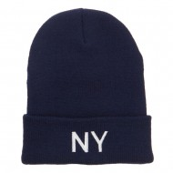 New York State NY Embroidered Cuff Beanie - Navy