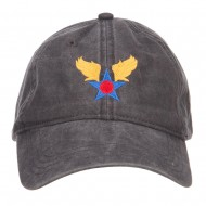 Army Air Corps Embroidered Pigment Dyed Cap - Black