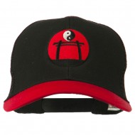 Yin and Yang Embroidered Mesh Cap - Red Black