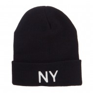 New York State NY Embroidered Cuff Beanie - Black