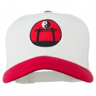 Yin and Yang Embroidered Mesh Cap - Red White