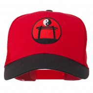 Yin and Yang Embroidered Mesh Cap - Black Red