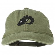 Zodiac Aries Embroidered Washed Cap - Olive