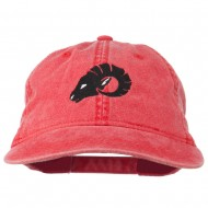 Zodiac Aries Embroidered Washed Cap - Red
