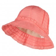 Girl's Bow Accent Bucket Hat - Coral