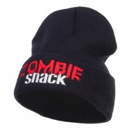 Halloween Zombie Snack Embroidered Long Beanie - Navy