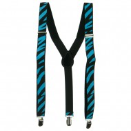 Large Zebra Print Suspenders - Blue