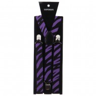 Large Zebra Print Suspenders - Purple