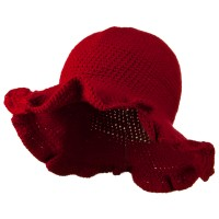 Dressy - Red 4 Inch Scallop Brim Hat
