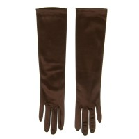 Glove - Brown Satin 8BL 14 Inches Glove