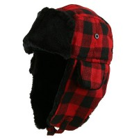 Trooper - Black Red Buffalo Plaid Trooper Hat