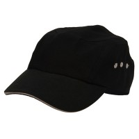 Ball Cap - Black Natural Brushed Canvas Bicycle Caps