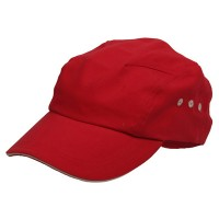 Ball Cap - Red Natural Brushed Canvas Bicycle Caps