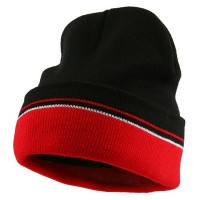 Beanie - Black Red Two Tone Cuff Knitting Beanie