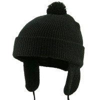 Beanie - Black Toddler Beanie Hat with Ear Flaps