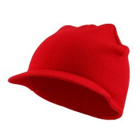 Beanie Visored - Red Cuffless Beanie Sports Visor