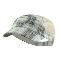 Cadet - White Fashion Plaid Mesh Army Cap