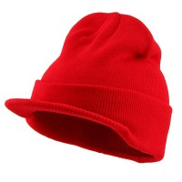 Beanie Visored - Red Beanie With Short Visor