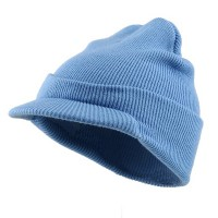 Beanie Visored - Blue Beanie With Short Visor