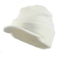 Beanie Visored - White Beanie With Short Visor