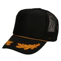Ball Cap - Black Gold Foam Front Oak Leaves Cap