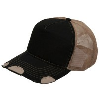 Ball Cap - Black Khaki Frayed Trucker Cap