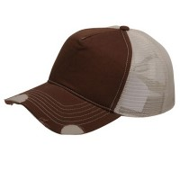 Ball Cap - Brown Stone Frayed Trucker Cap