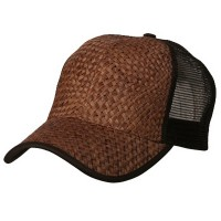 Ball Cap - Brown Brown Straw Trucker Cap