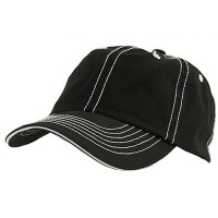 Ball Cap - Black White Cotton Twill Washed Cap