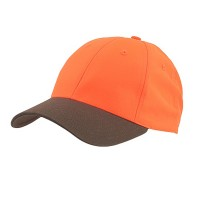 Ball Cap - Brown Neon Orange Plain 6 Panel Neon Cap